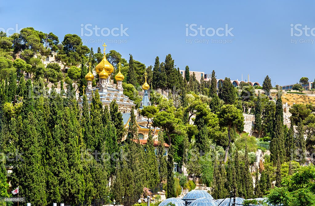 Russian Orthodox Church of Mary Magdalene in Jerusalem, Israel stock photo