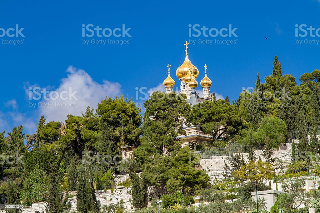 Russian Orthodox Church of St. Mary Magdalene stock photo