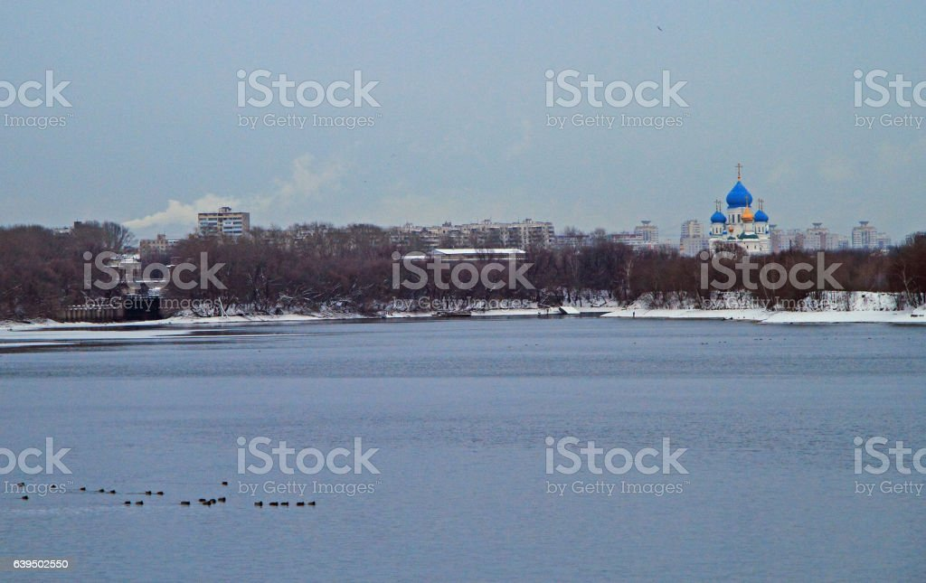 Russian Orthodox Church on the riverside of Moskva river stock photo