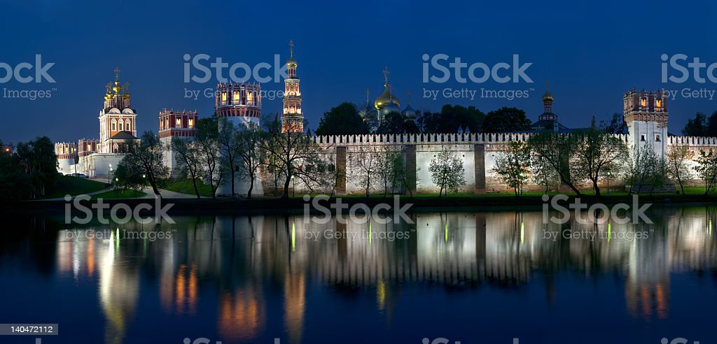 Russian orthodox convent nighttime panorama royalty-free stock photo