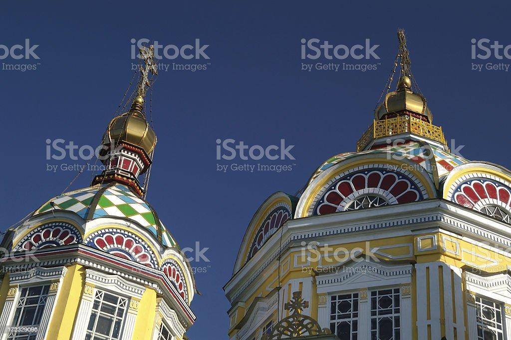 Russian Orthodox Domes in Almaty Kazakhstan stock photo