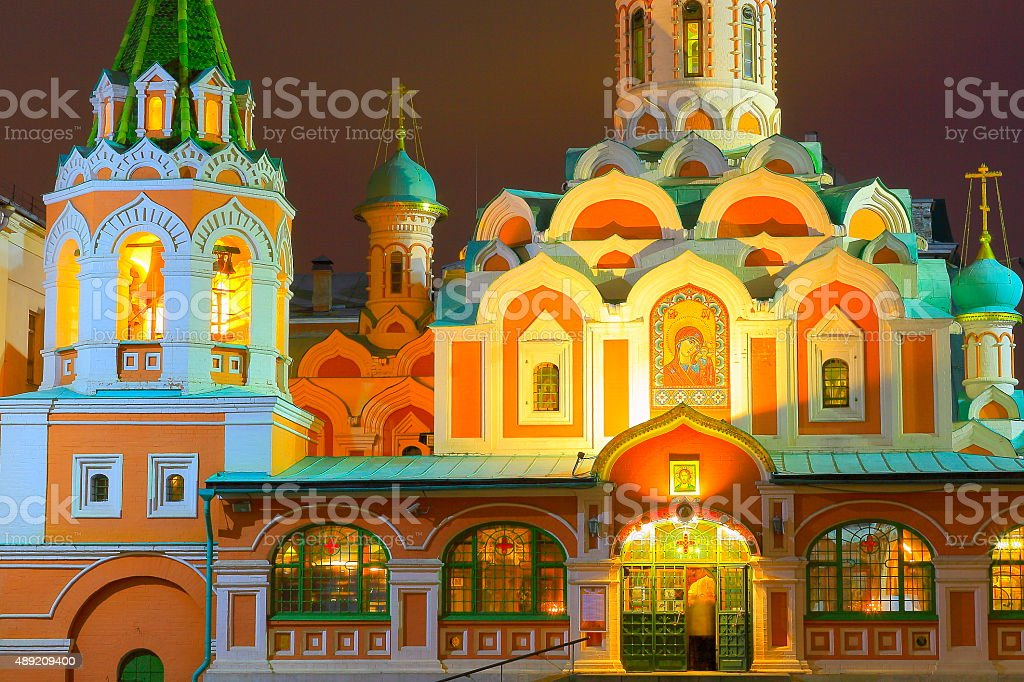 Russian Orthodox Kazan Cathedral facade evening, Red Square, Moscow stock photo