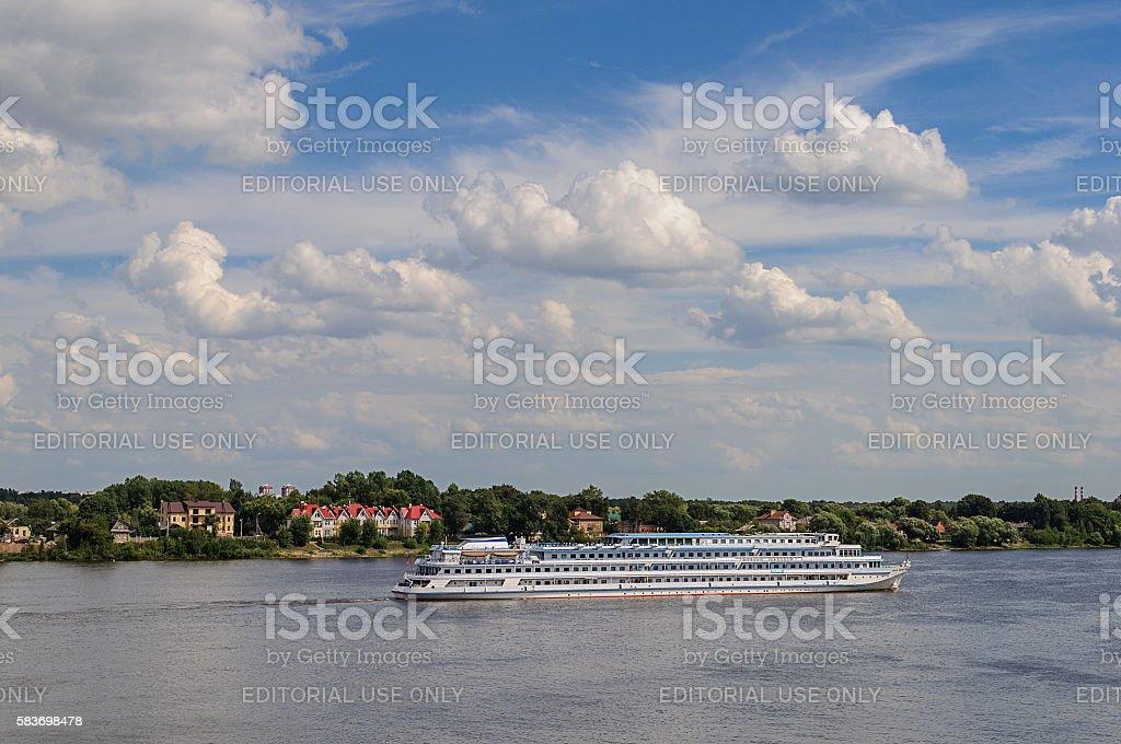 Russian passenger ship Mikhail Sholokhov on Volga river stock photo