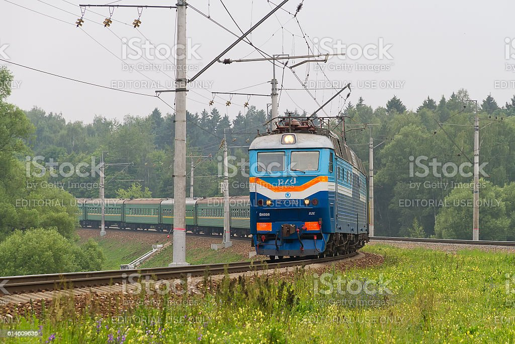 Russian passenger train in the way near Moscow stock photo