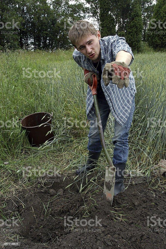 Russian peasant in the village Karuna stock photo