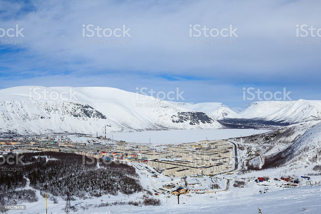 russian polar city streets covered with snow in Khibiny mountains stock photo