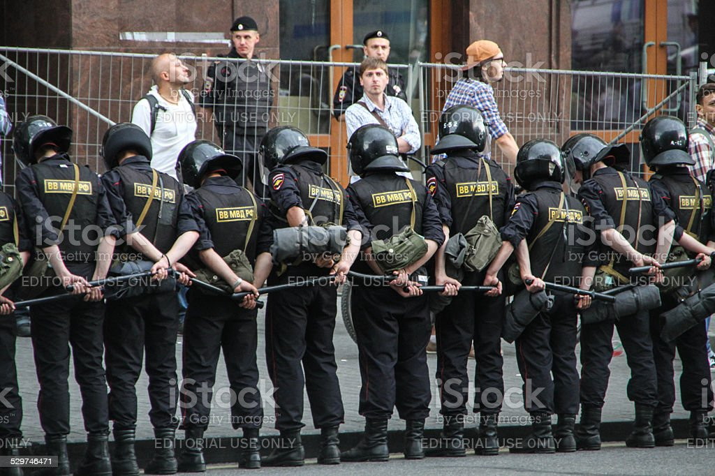 Russian police during the opposition rally stock photo