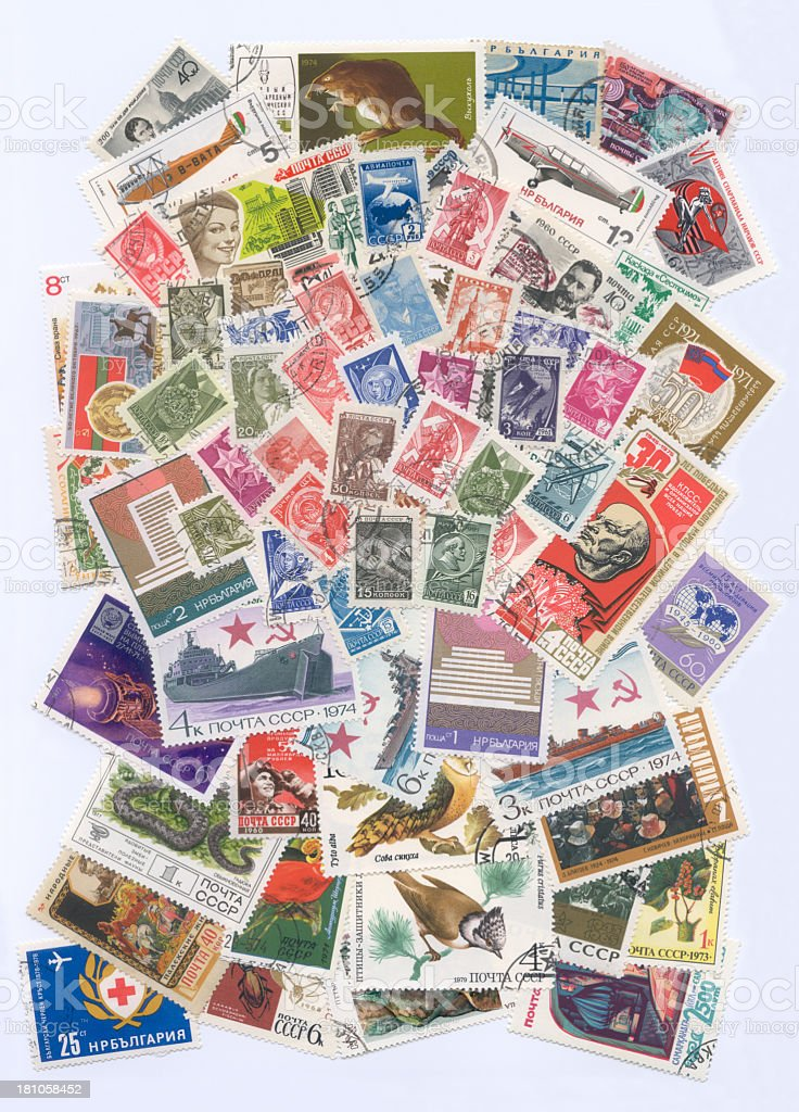 Russian postage stamps stock photo