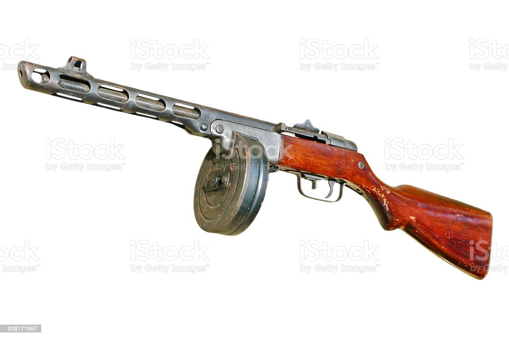 Russian PPsH machine gun.Isolated. stock photo