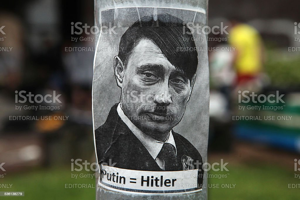 Russian president Vladimir Putin depicted as Adolf Hitler stock photo