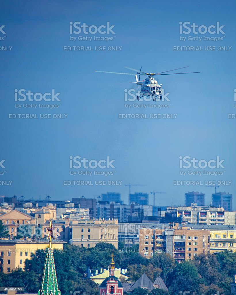Russian president`s helicopter in the air over Moscow Kremlin to stock photo