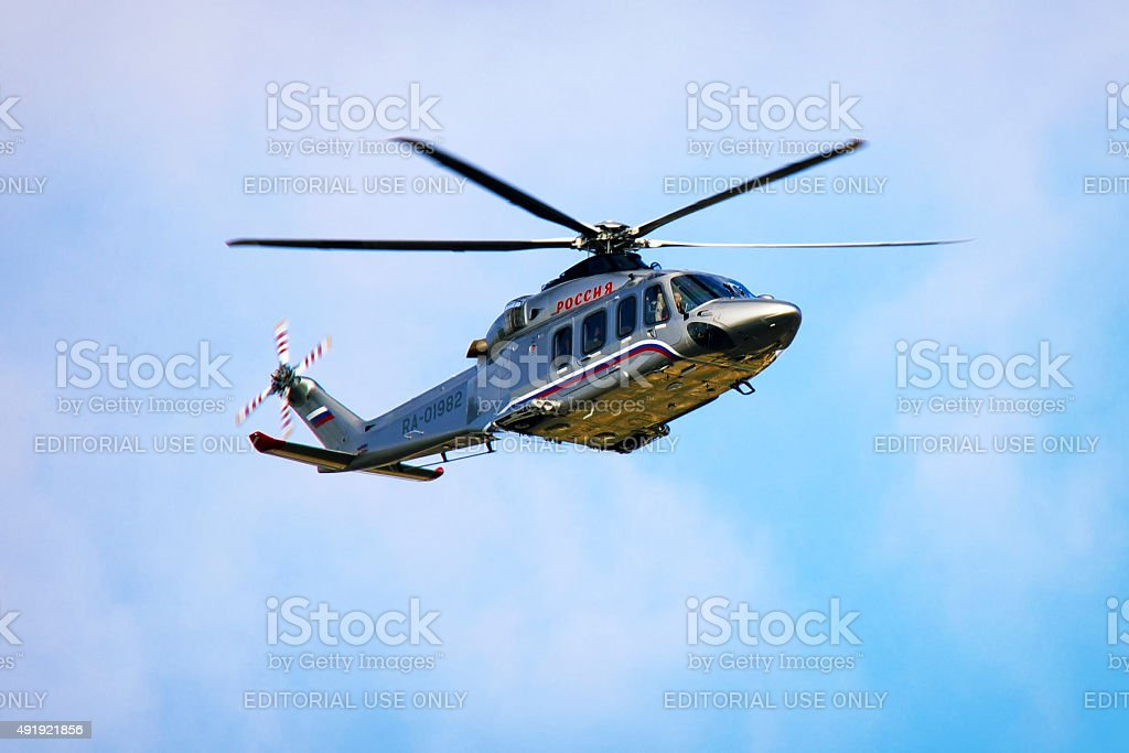 Russian prime minister`s helicopter in the air stock photo