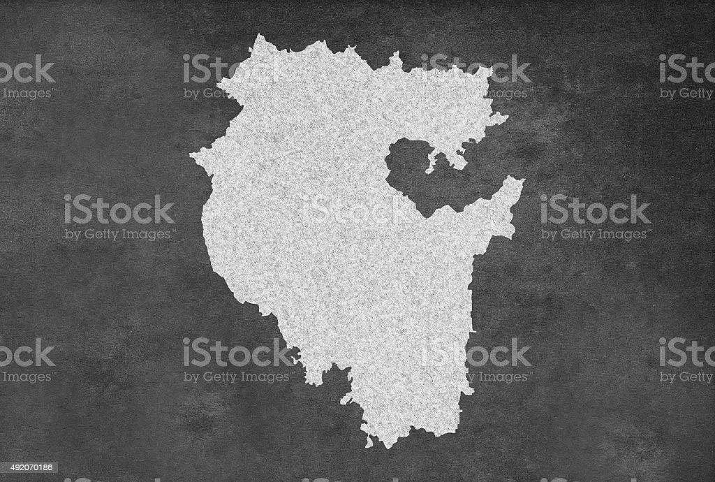 Russian Region of Bashkortostan Map Outline on an Blackboard stock photo