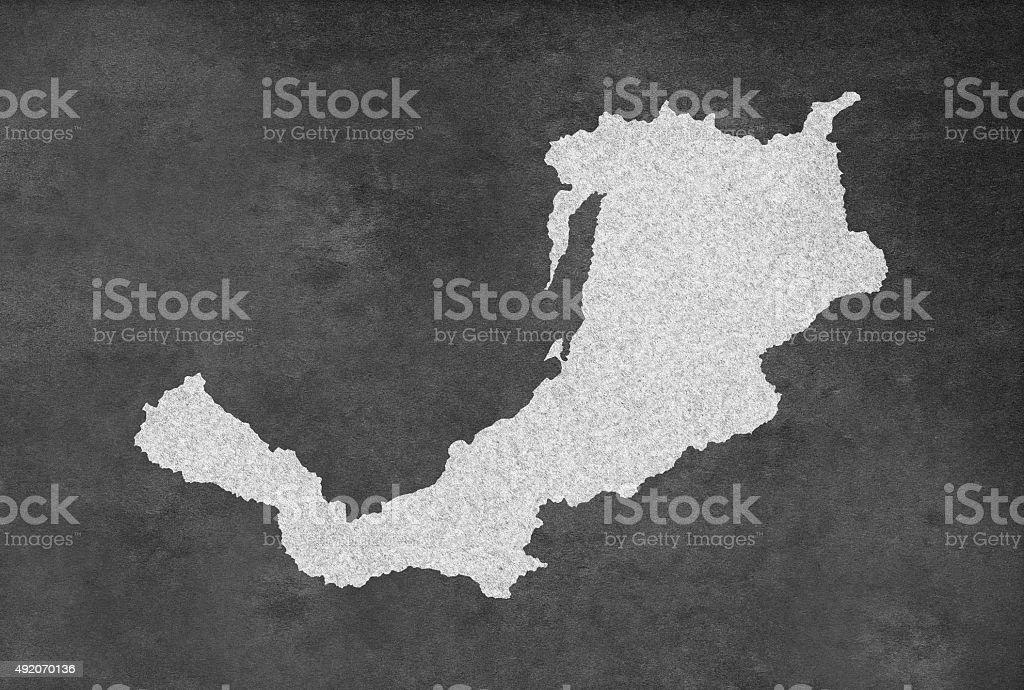 Russian Region of Buryatia Республика Бурятия Map Outline on Blackboard stock photo