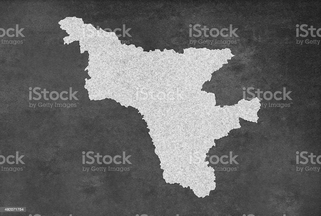Russian Republic of Amur Амурская область Map Outline on Blackboard stock photo
