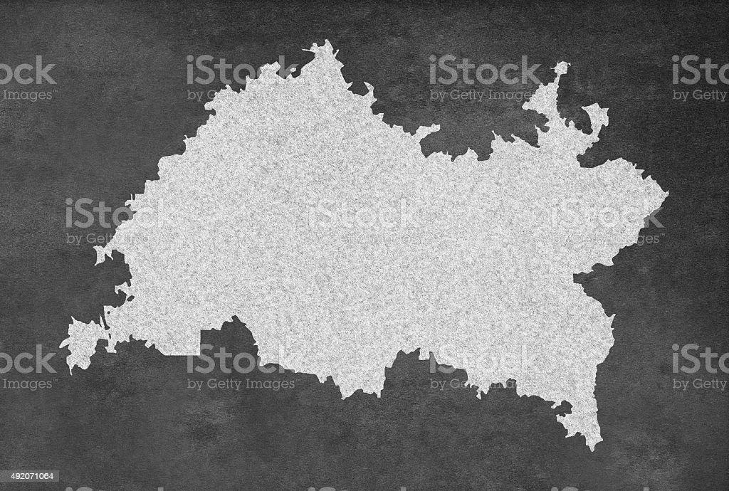 Russian Republic of Tatarstan Map Outline on an Blackboard stock photo