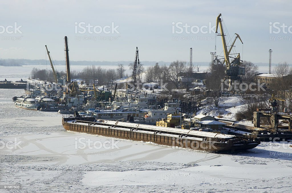russian river Volga in winter time royalty-free stock photo