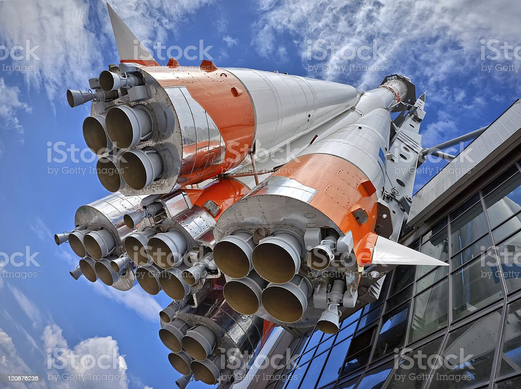 Russian rocket being launched to space stock photo
