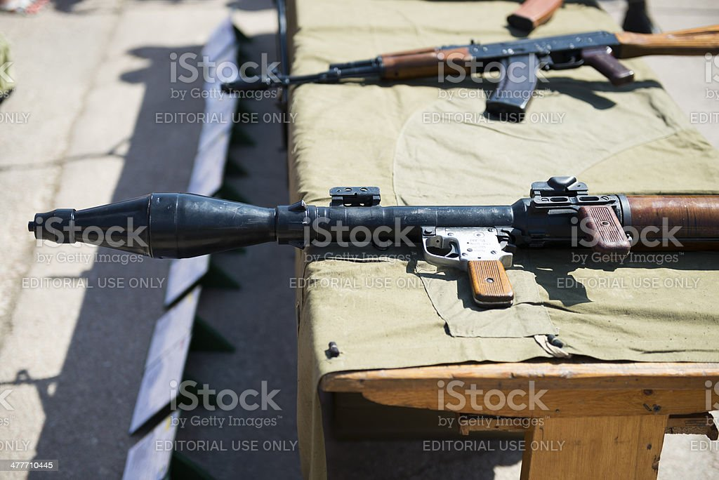 Russian RPG-7 and AK-47 stock photo