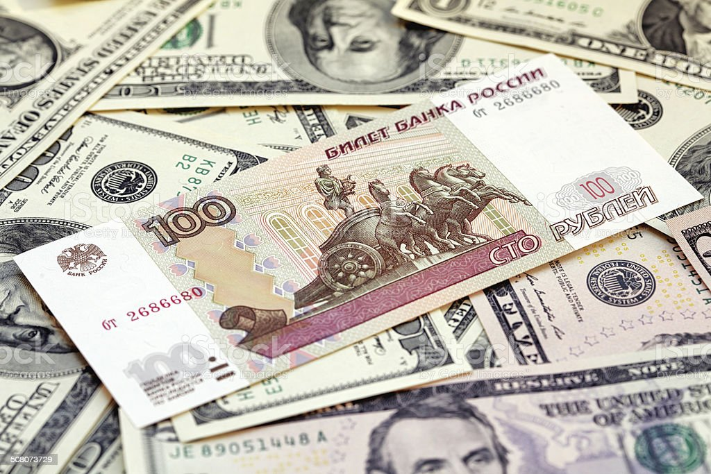 Russian rubles against US dollars royalty-free stock photo