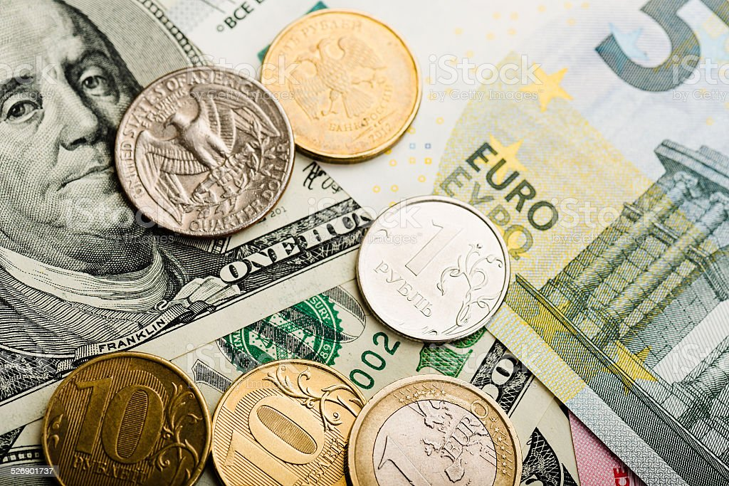 Russian rubles and U.S. dollars stock photo