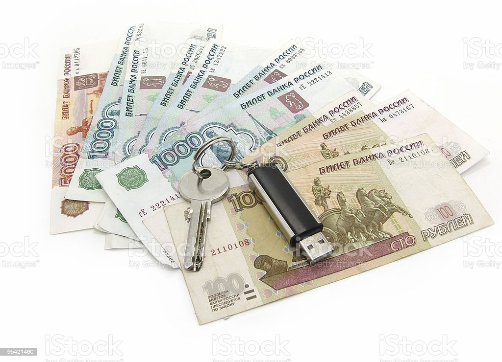 russian rubles and usb drive royalty-free stock photo