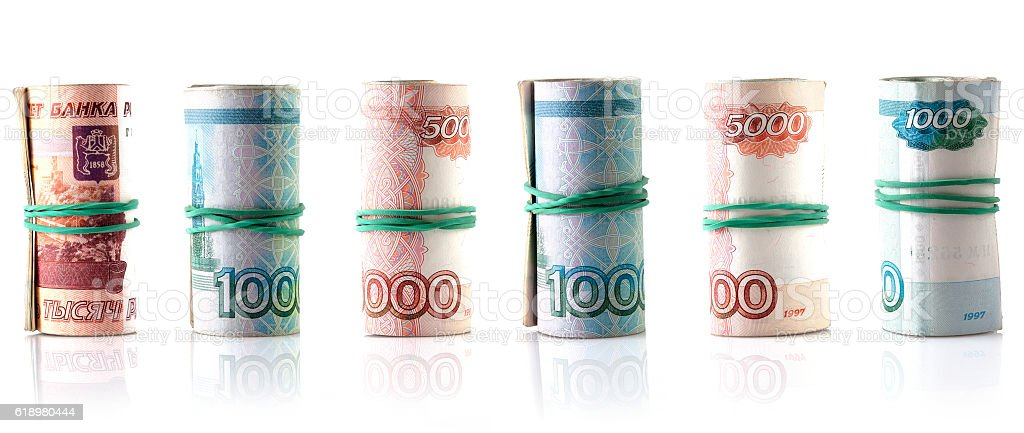 Russian rubles banknote roll stock photo