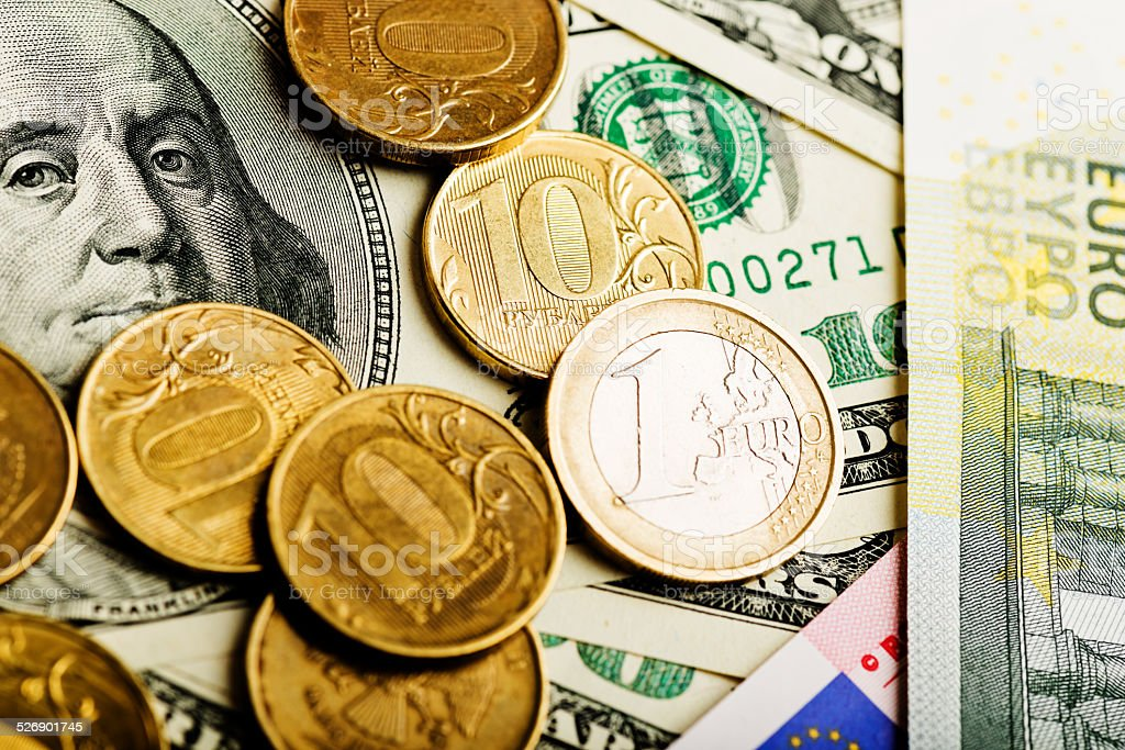 Russian rubles, euro and U.S. dollars stock photo