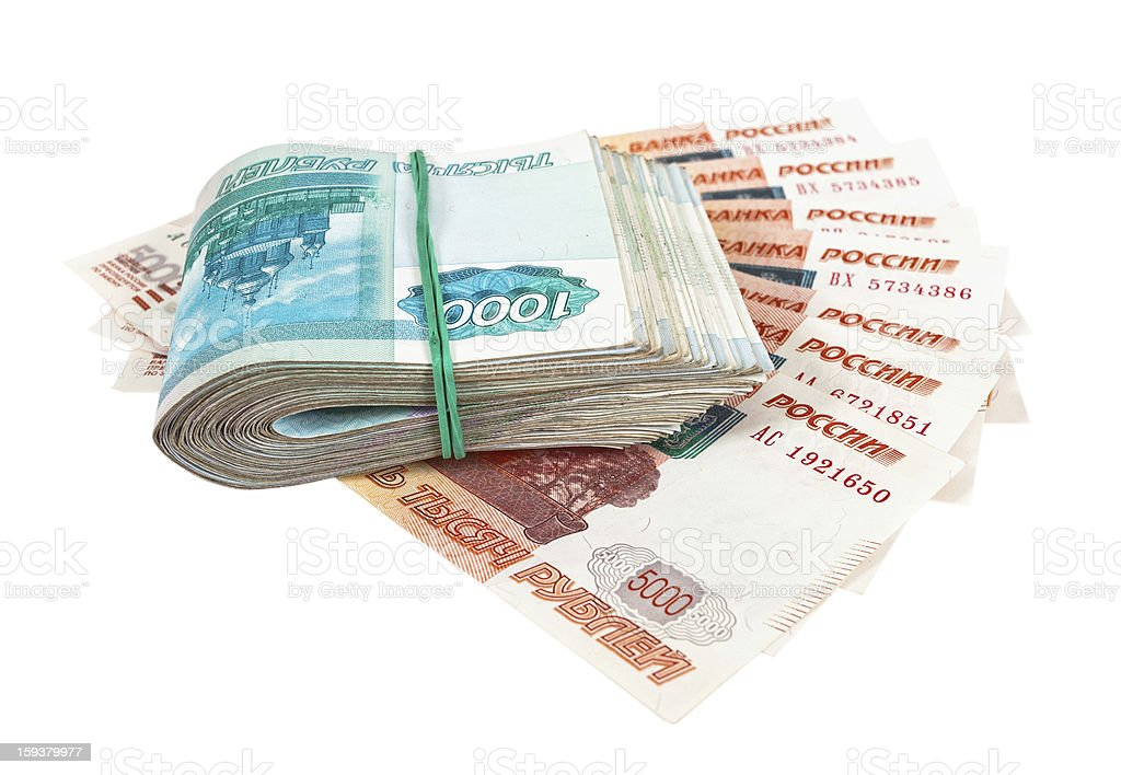 Russian rubles over white background royalty-free stock photo