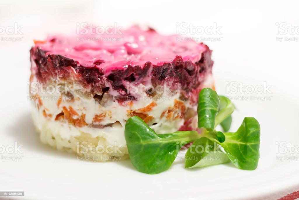 Russian salad Herring under a Fur Coat stock photo