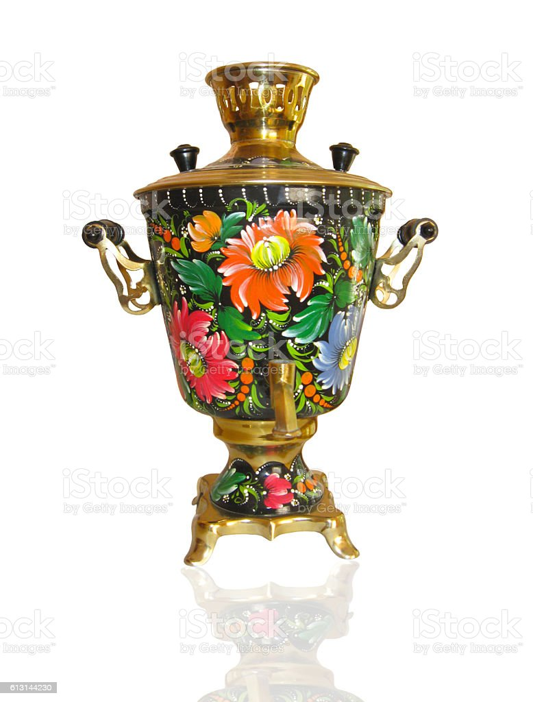 Russian samovar isolated on white background stock photo