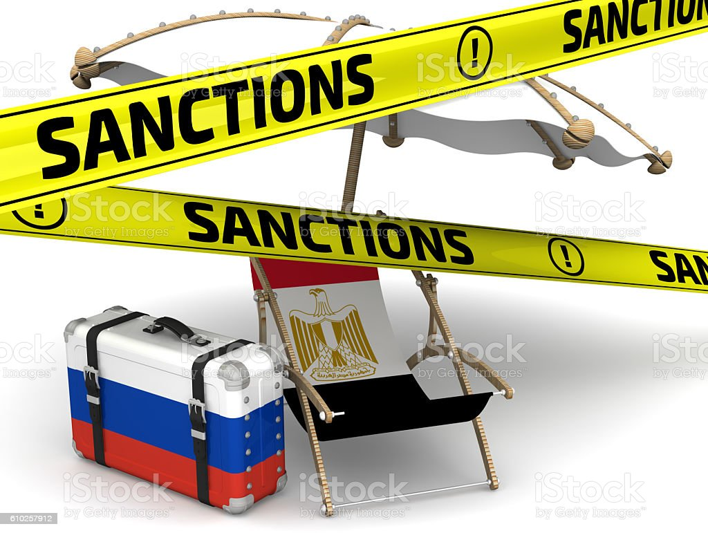 Russian sanctions against Egypt in tourism. Concept stock photo