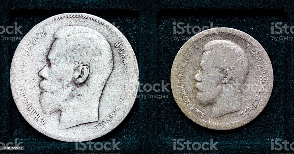 Russian silver coin 1 ruble  and 50 kopecks stock photo