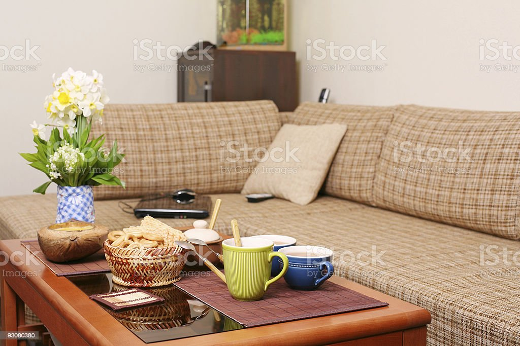Russian snack on the coffee table in living room royalty-free stock photo
