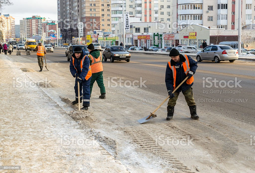 Russian Snow Clearers at Work on a Road stock photo
