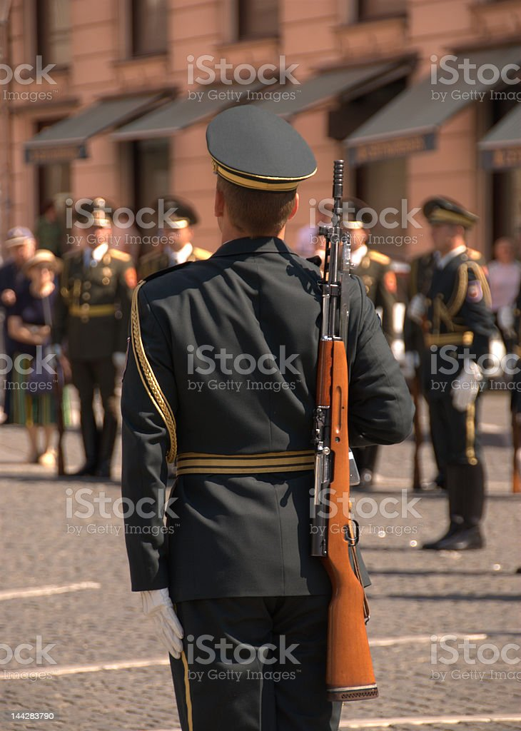 Russian soldier parading on Preseren square, Ljubljana royalty-free stock photo