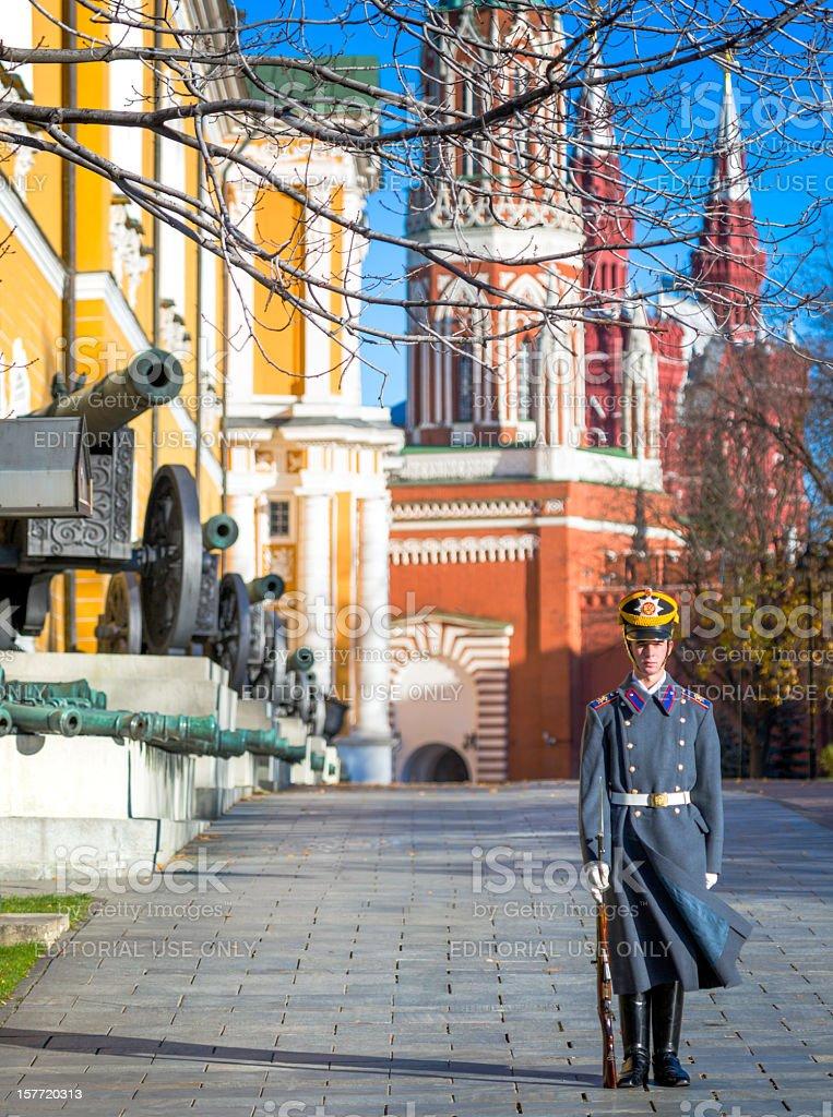 Russian soldier stands on duty in Kremlin stock photo