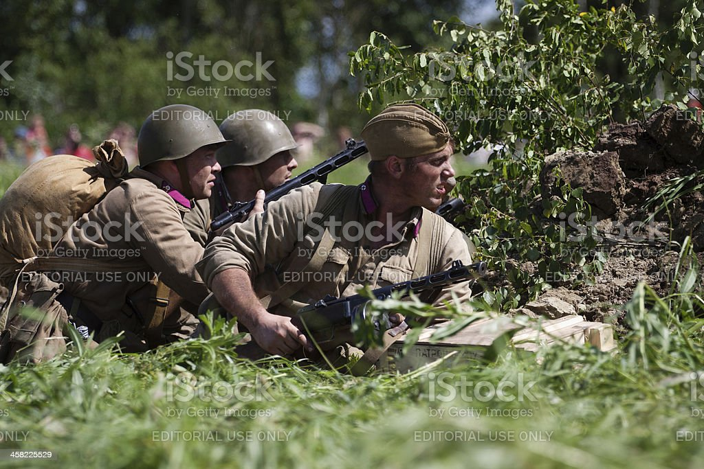 Russian soldiers in a trench stock photo