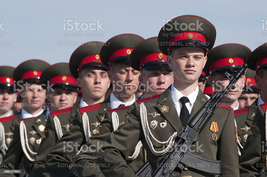 Russian soldiers on Moscow Victory Parade of 2010 royalty-free stock photo