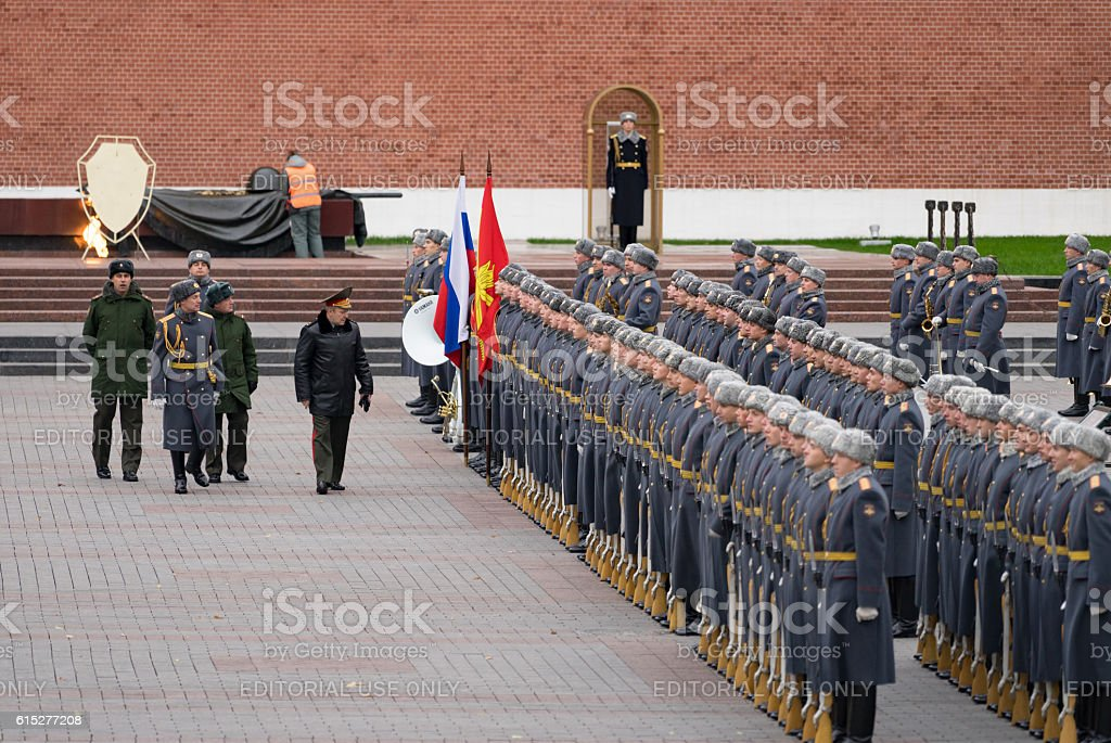 Russian soldiers on parade being inspected by a Senior Officer stock photo