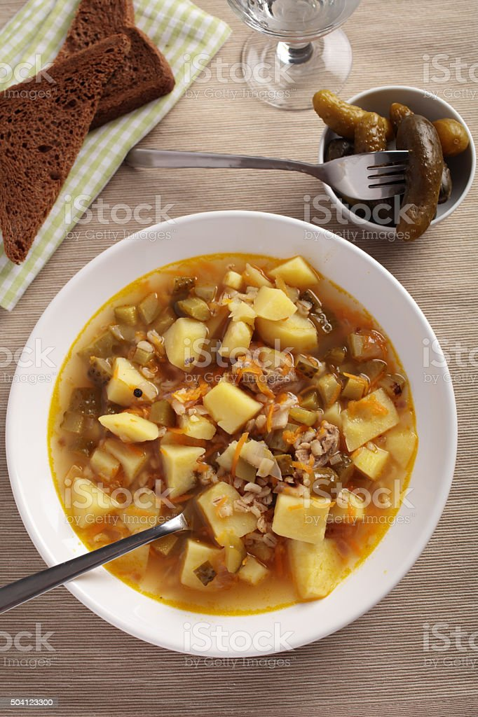 Russian soup rassolnik stock photo