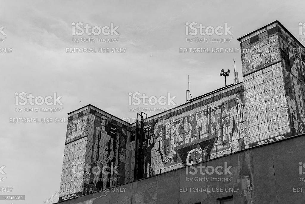 Russian Soviet Mural on Building stock photo