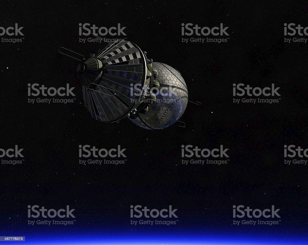 russian spaceship in orbit - Vostok stock photo