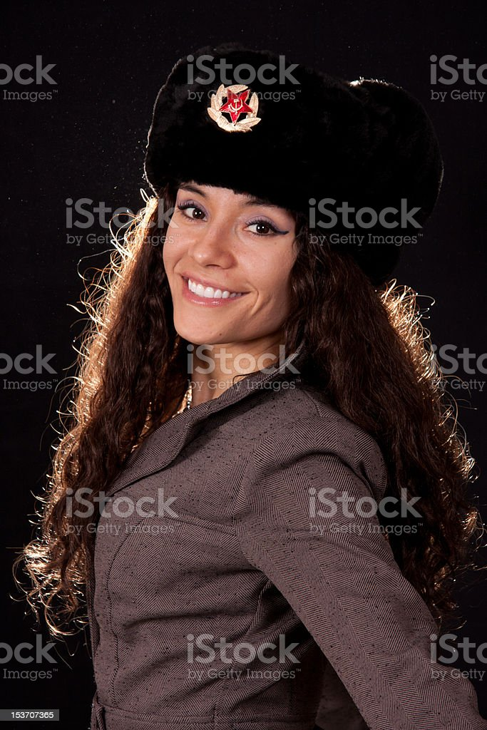 Russian spy smiling royalty-free stock photo