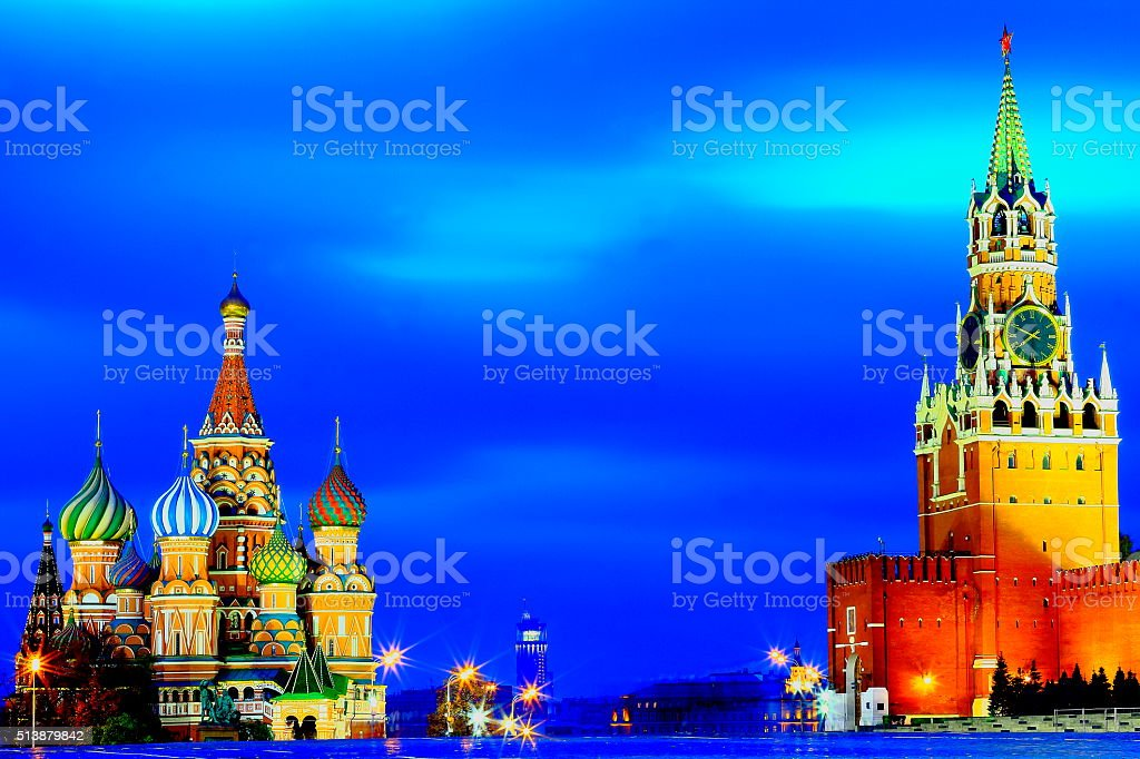 Russian St Basil', Red Square, dramatic evening, Kremlin, Moscow stock photo