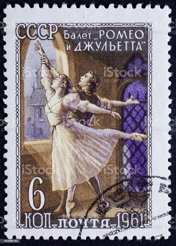 Russian stamp; ballet theme stock photo