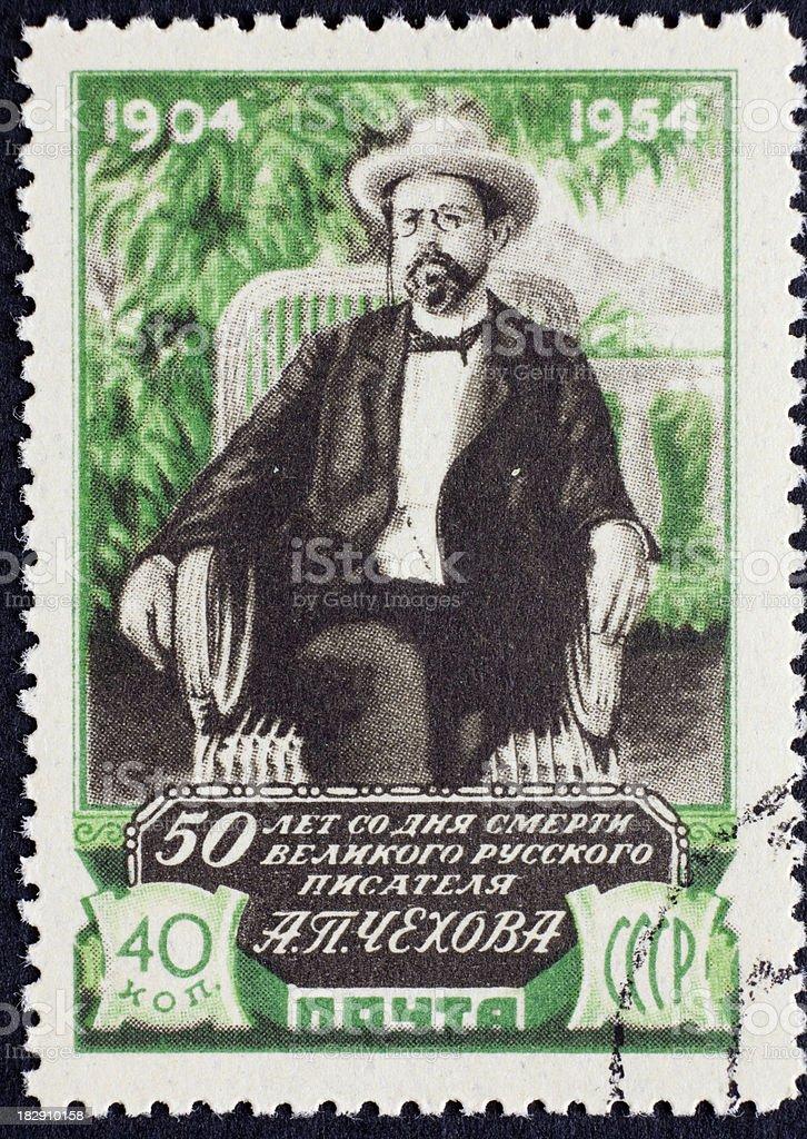 Russian stamp of Chekhov stock photo