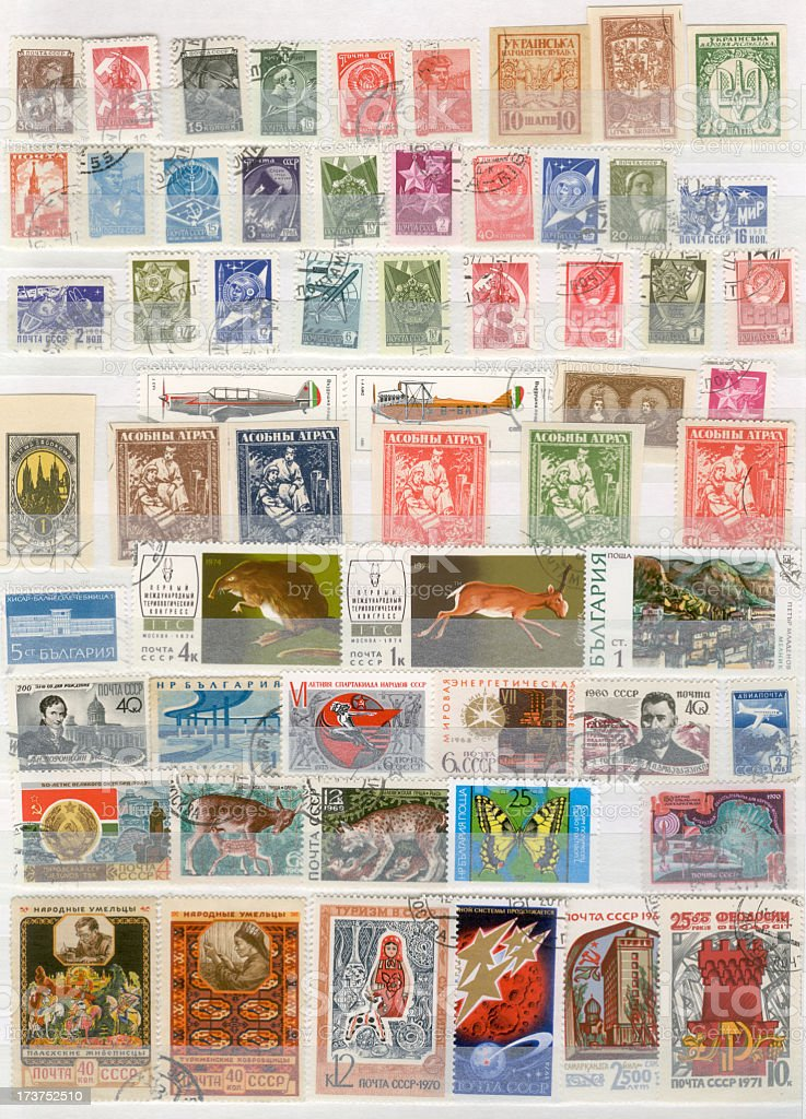 Russian stamps stock photo