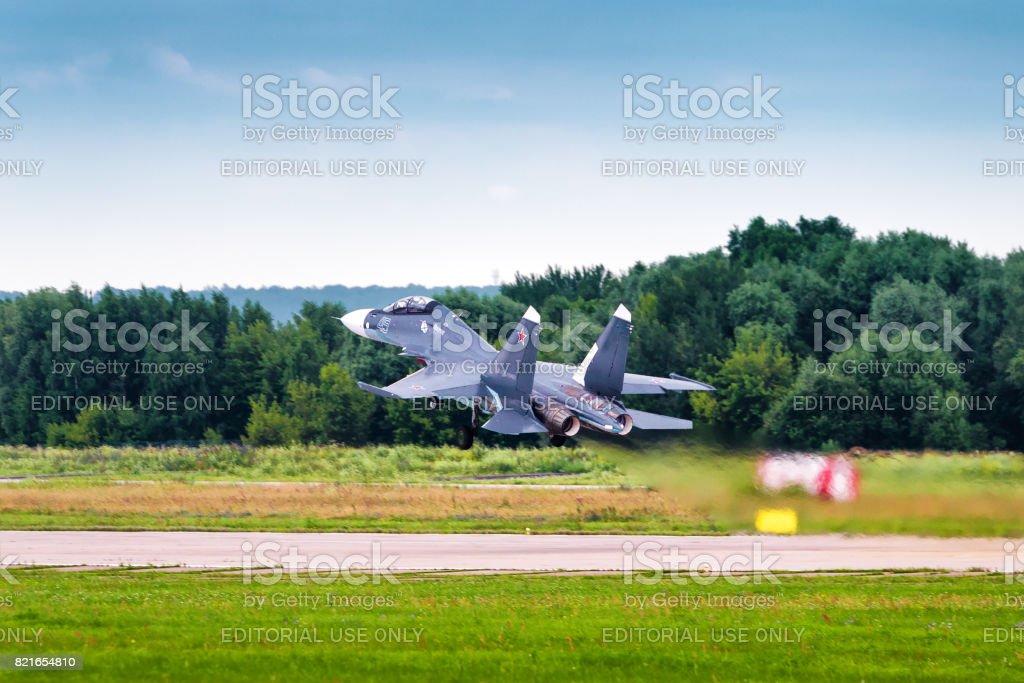 Russian strike fighter Sukhoi Su-30 stock photo