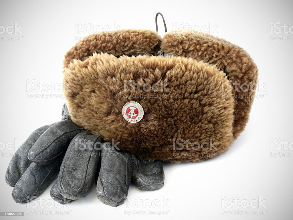 Russian style hat and gloves with vignetting. royalty-free stock photo